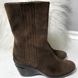 Brown Nikeair Womens Suede Wedge Comfort Boots